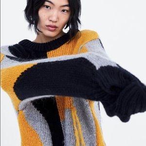 Zara Fringed Oversized Sweater L